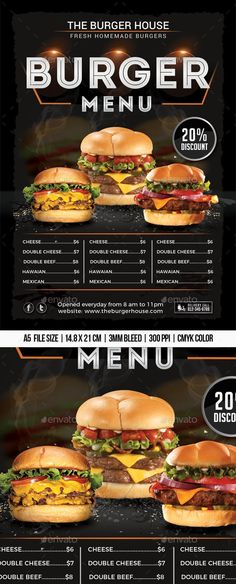 "Buy Burger Menu Flyer by Mograsol on GraphicRiver. ""Burger Menu Flyer Suitable for any Burger restaurant or fast food business. Burger Restaurant, Restaurant Poster, Restaurant Recipes, Restaurant Service, Fast Food Restaurant, Sandwich Menu, Burger Menu, Burger Bar, Food Trucks"
