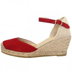 Eldora classic ankle strap wedge espadrilles in marine red suede