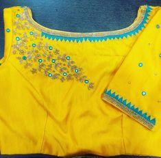 Cotton Saree Blouse Designs, Bridal Blouse Designs, Blouse Neck Designs, Mirror Work Blouse Design, Maggam Work Designs, Simple Blouse Designs, Designer Blouse Patterns, Boat Neck, Clothing