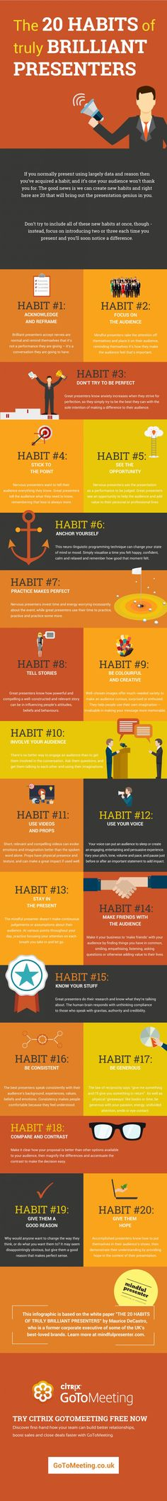 The infographic presents 20 habits of truly brilliant presenters and tips for nurturing these habits in your own presentations.