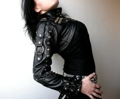 Dream Warriors black leather overbust bolero / short jacket. Standing collar, straps.Post apocalyptic goth rock heavy metal military couture