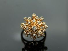 1950s-60s-Retro-0-82ct-TW-Diamond-Snowflake-Cluster-14k-Gold-Ladies-Ring