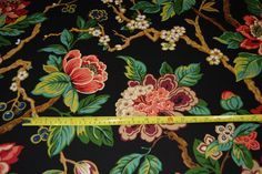 Jacobean Asian Floral Branch Japanese Inspired Ottoman Upholstery Cotton Home Dec Fabric