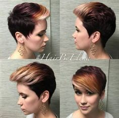 two toned long pixie cut with colored bangs