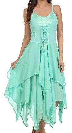 Sakkas Lady Mary Jacquard Corset Style Bodice Lightweight Handkerchief Hem Dress