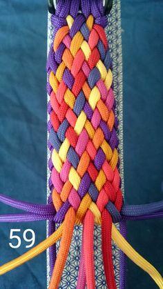 Mo's Color Explosion Paracord Braids, Paracord Knots, Paracord Bracelets, Paracord Ideas, Bracelet Knots, Braided Bracelets, Macrame Tutorial, Bracelet Tutorial, Decorative Knots