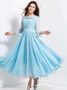 Ericdress Patchwork Long Sleeve Expansion Maxi Dress Sky Blue and Tiffany Blue are stunning ! Indian Gowns Dresses, Modest Dresses, Stylish Dresses, Pretty Dresses, Beautiful Dresses, Fashion Dresses, Long Gown Dress, Chiffon Dress Long, Chiffon Evening Dresses