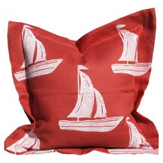 Sailboat Pillow in Salmon