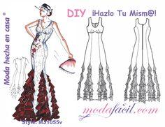 Descarga gratis los patrones del Vestido de Fiesta Flamenco con Olanes disponible en 10 tallas para Descargar e Imprimir incluye Tallas PETITE y EXTRAGRANDE