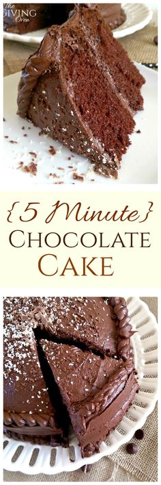 """Moist, decadent, chocolate-y cake, mixed in just 5 minutes! Topped with an easy homemade chocolate frosting to die for! Voted """"The BEST Chocolate Cake"""" among my family and friends!"""