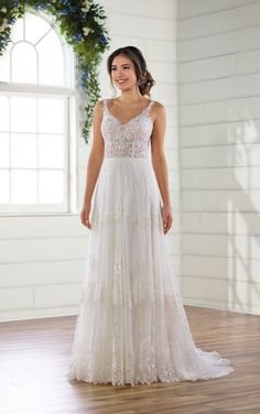 Simple Boho Chiffon Wedding Dress -