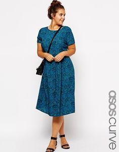 Image 1 ofASOS CURVE Exclusive Midi Dress In Wallpaper Print