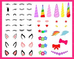 Unicorn kit svg Unicorn svg Unicorn horn svg Birthday svg Make Your Own Unicorn Cut File svg files for Cricut Silhouette svg png eps dxf Baby Crafts, Diy And Crafts, Unicorn Ears, Unicorn Birthday Parties, Vinyl Projects, Holidays And Events, Paper Flowers, Coloring Pages, Creations