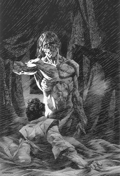 """theremina: Bernie Wrightson Illustrations of Mary Shelley's """"Frankenstein"""" Comic Book Artists, Comic Artist, Comic Books Art, Horror Comics, Horror Art, Gravure Illustration, Illustration Art, Art Frankenstein, Mary Shelley Frankenstein"""