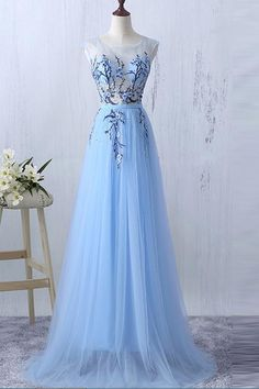 New Arrival Light Blue Flower Appliques Real Photo See Through Prom Dresses Formal Dress LD1115