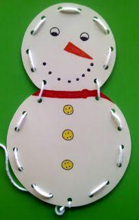 Crafts For Preschoolers: Snowman Lacing Card