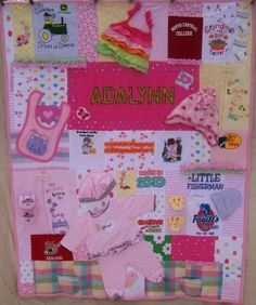 Baby Clothes Memory Quilt would love to do this for my grandbabies! Baby Girl Quilts, Girls Quilts, Baby Memory Quilt, Memory Quilts, Baby Clothes Blanket, Babies Clothes, Baby Blankets, Sewing Crafts, Sewing Projects
