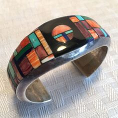 Signed Vintage NAVAJO Alvin Yellowhorse Sterling Silver & Channel Inlay BRACELET #AUTHENTICVINTAGENATIVEAMERICANJEWELRY