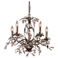 Chandelier with crystal and vine accents.  Product: ChandelierConstruction Material: Crystal and metal