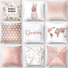 Pink Throw Pillow Cushion Covers Decorative Letter Dot Geometric Flowers Pineapple Map home decoration accessories - Neewho Rose Gold Room Decor, Rose Gold Rooms, Gold Bedroom Decor, Bedroom Decor For Teen Girls, Room Ideas Bedroom, Rose Gold Bedroom Accessories, Decorative Accessories, Gold Office Accessories, Home Decor Accessories