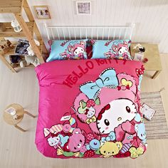 2015 New Colourful Hello Kitty Item Bedding Comforter Bedding For Kids Twin Queeen King Size Wholesale