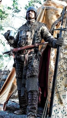 Military campaign armored German, Medieval weapons and armor, mercenarie, bec de corbin , German katzbalger, German flail, gambeson, Bishop's mantel, jack chains, brigandine upper and lower legs, chainmail gloves, open face sallet.