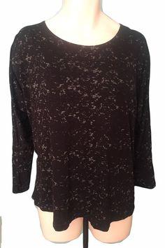 Black Knit Top Tunic 20 22w Longer in Back Gray print #Bobeau #Tunic #Casual