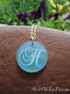 Initial Monogram Necklace Engraved Pendant by ShilohValleyDesigns, $22.95