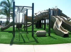 Playground Using SYNLawn (8) Our synthetic playground turf mimics real grass, cushioning falls and preventing grass stains. Get a free consultation from SYNLawn® of San Diego.