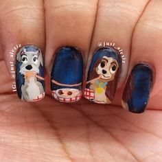 A romantic meal for two: | 26 Incredibly Creative Works Of Nail Art - The Lady and The Tramp is shown...x