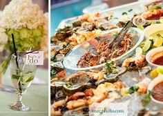 #wedding reception #cocktail hour #seafood buffet