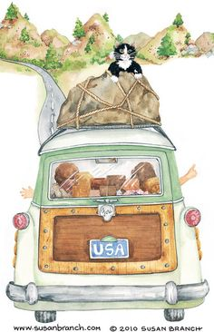 US Travel ~ Susan Branch   My cat would try and stow away