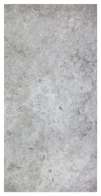 This matte porcelain tile has a subtle texture similar to a brushed travertine.  Cool grey mixed with off white tones of pearl swirl together throughout.