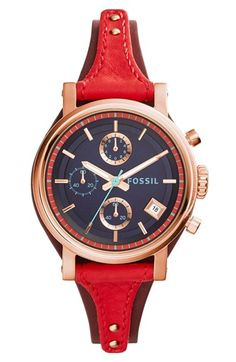 Fossil 'Original Boyfriend' Chronograph Leather Strap Watch, 38mm