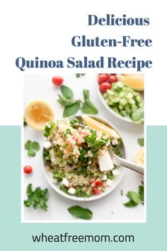 This gluten-free quinoa salad is a delicious salad full of fresh ingredients and flavours. Add a grilled protein choice like tofu, chicken or fish and it is a full meal. Leave it the way it is and it is a terrific side salad or a picnic salad for your next hike. Gluten Free Quinoa Salad, Cold Quinoa Salad, Gluten Free Vegetarian Recipes, Quinoa Salad Recipes, Salad Dressing Recipes, Free Recipes, Tofu Chicken, Side Salad, Nutritious Meals
