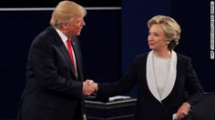 Clinton wins debate, but Trump exceeds expectations ST LOUIS, MO - OCTOBER 09:  Republican presidential nominee Donald Trump shakes hands with Democratic presidential nominee former Secretary of State Hillary Clinton during the town hall debate at Washington University on October 9, 2016 in St Louis, Missouri. This is the second of three presidential debates scheduled prior to the November 8th election.  (Photo by Chip Somodevilla/Getty Images)
