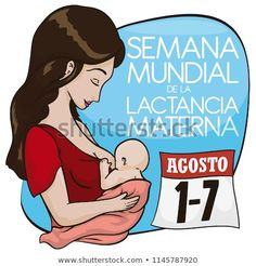 Beautiful latin mother with baby promoting breastfeeding in August with reminder loose-leaf calendar: date for World Breastfeeding Week (written in Spanish). World Breastfeeding Week, Mother And Baby, Doodle, Promotion, Spanish, Calendar, Royalty Free Stock Photos, Beautiful, Breast Feeding