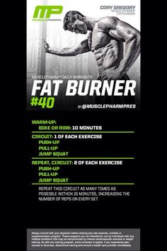 Great workout from MusclePharm Best Fat Burning Workout, Fat Burning Cardio, Musclepharm Workouts, Lifting Workouts, Core Workouts, Daily Workouts, Muscle Pharm, Running On Treadmill, Belly Fat Workout