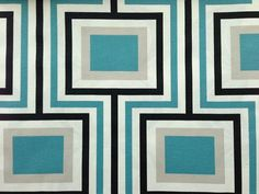 One Yard  Retro geometric squares in turquoise by lovethatfabric