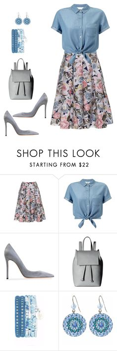 """#skirts# floral skirts# backpack and?"" by andrea-jones-4 ❤ liked on Polyvore featuring Miss Selfridge, Gianvito Rossi, French Connection and Tarina Tarantino"