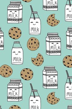 Milk and Cookies design by andrea_lauren - Hand drawn milk cartons and chocolate chip cookies on a mint background on fabric, wallpaper, and gift wrap. Adorable milk and cookies design in a hand drawn style. Cute Food Wallpaper, Whats Wallpaper, Mint Wallpaper, Iphone Background Wallpaper, Kawaii Wallpaper, Fabric Wallpaper, Aesthetic Iphone Wallpaper, Disney Wallpaper, Cartoon Wallpaper