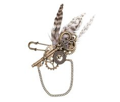 Make your Steampunk Themed Wedding complete with this Steampunk Boutonniere. This amazing steampunk boutonniere is a must-have accessory for the groom, groomsmen and best man. Composed of steampunk el Feather Boutonniere, Groomsmen Boutonniere, Groom And Groomsmen, Wedding Boutonniere, Boutonnieres, Wedding Bouquets, Wedding Dresses, Steampunk Diy, Steampunk Clothing