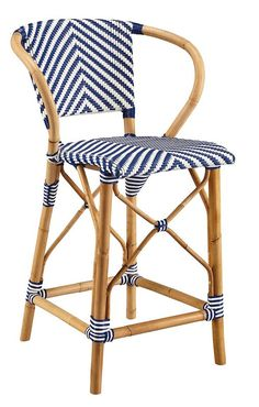 Blue and White French Bistro Chevron Rattan Counter Stool Rattan Counter Stools, Rattan Stool, Kitchen Counter Stools, White Bar Stools, 24 Bar Stools, Swivel Bar Stools, Counter Height Bar, French Bistro, Solid Wood Furniture