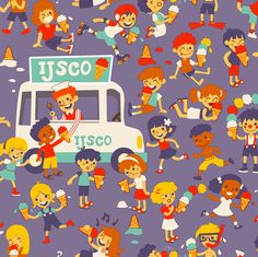 Ice cream kids! (Please zoom in - 35 kids) :D fabric by irrimiri on Spoonflower - custom fabric
