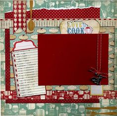 12x12 page includes a mix of coordinating printed cardstock, ribbon, Love To Cook sticker, safety pin, photo facts die cut, fork, knife and