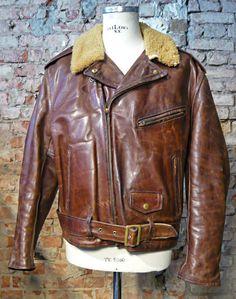 "burgundschild: "" Vintage Aero Leather Motorcycle Jacket in brown Front Quarter Horsehide. For Sale 800 €! Check at Burg&Schild store. """