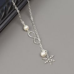 bridesmaids jewelry Snowflake Pearl Necklace Sterling Silver Winter Wedding Bridesmaid Jewelry Unique Gifts for Women Snowflake Jewelry Silver Winter Wedding, Winter Wedding Bridesmaids, Snowflake Jewelry, Piercings, Pearl Necklace Designs, Beaded Jewelry, Unique Jewelry, Jewelry Ideas, Sterling Silver Cross Pendant