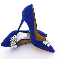 "Sale☘Badgley Mischka Jeweled Satin Point Toe Pumps Ask me how to get FREE SHIPPING!! | Soaring satin pair with shiny stones. Self-covered heel, 4"" (100mm) 