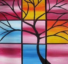 rainbow colors tree of life painting colourful por SmallPaintingArt, $45.00