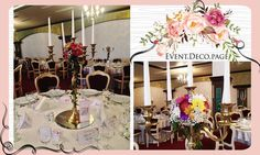 Candlestick flowers by Event Deco. Find us on Facebook, Event.Deco.page! Anniversary Parties, Candlesticks, Christening, Floral Wedding, Romantic, Table Decorations, Facebook, Party, Flowers